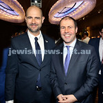 Yom Haatzmaut Communal Cocktail Party at The Shangri la Hotel in Sydney. Israeli MK Amir Ohana (left) & Josh Frydenberg. Pic Noel Kessel.