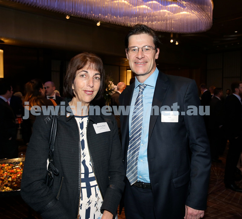 Yom Haatzmaut Communal Cocktail Party at The Shangri la Hotel in Sydney. Wendy Barel & Jonathan O'Dea. Pic Noel Kessel.