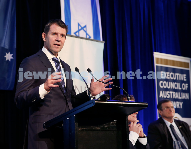 Yom Haatzmaut Communal Cocktail Party at The Shangri la Hotel in Sydney. NSW Premier Mike Baird. Pic Noel Kessel.