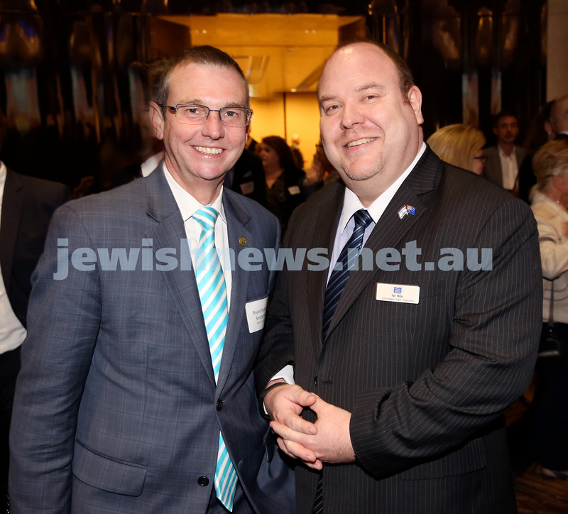 Yom Haatzmaut Communal Cocktail Party at The Shangri la Hotel in Sydney. Bruce Notley-Smith (left) & Yair Miller. Pic Noel Kessel.