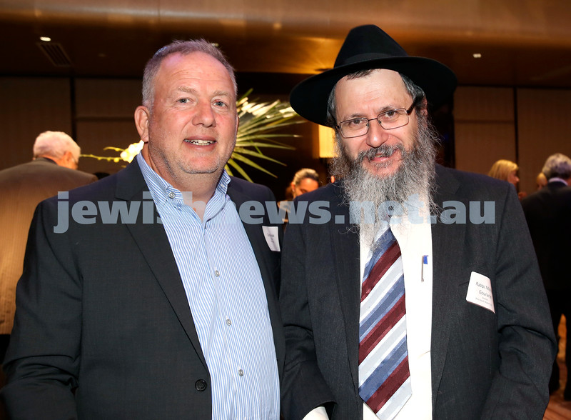 Yom Haatzmaut Communal Cocktail Party at The Shangri la Hotel in Sydney. Giora Friede (left) & Rabbi Michoel Gourarie. Pic Noel Kessel