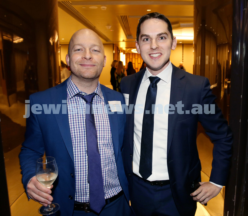 Yom Haatzmaut Communal Cocktail Party at The Shangri la Hotel in Sydney. Jonathan Oz (left) & Cr. David Ossip. Pic Noel Kessel.