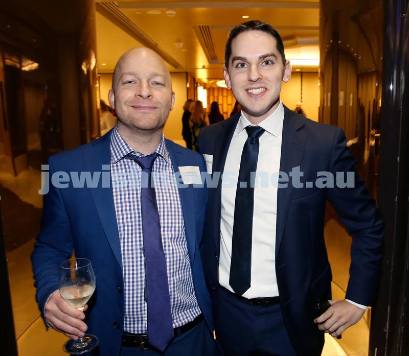 Yom Haatzmaut Communal Cocktail Party at The Shangri la Hotel in Sydney. Jonathan Oz (left) & Cr. David Ossip. Pic Noel Kessel.