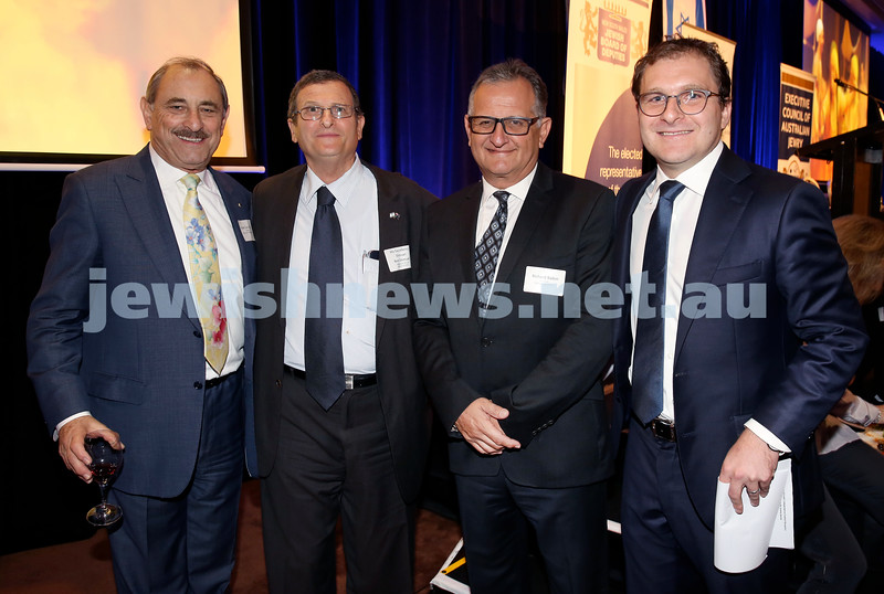 Yom Haatzmaut Communal Cocktail Party at The Shangri la Hotel in Sydney. (from left) Robert Goot, Shmuel Ben Shmuel, Richard Balkin, Jeremy Spinak. Pic Noel Kessel.