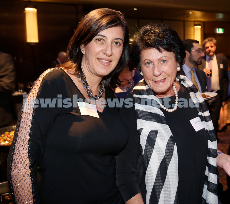 Yom Haatzmaut Communal Cocktail Party at The Shangri la Hotel in Sydney. Aviva Barel (left) & Louise Belz. Pic Noel Kessel.