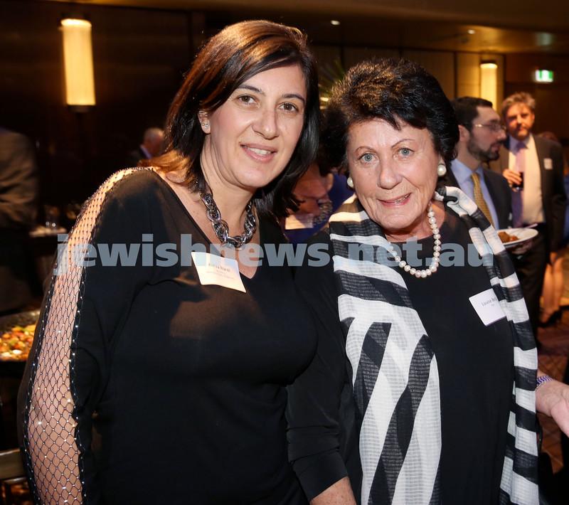Yom Haatzmaut Communal Cocktail Party at The Shangri la Hotel in Sydney. Aviva Barel (left) & Louise Belz. Pic Noel Kessel.
