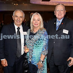 Yom Haatzmaut Communal Cocktail Party at The Shangri la Hotel in Sydney. (from left) Lewis Levi, Annie Wright, Rev Fred Nile. Pic Noel Kessel.