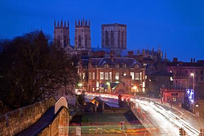 York's city walls at dusk