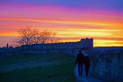 York's city walls at sunset