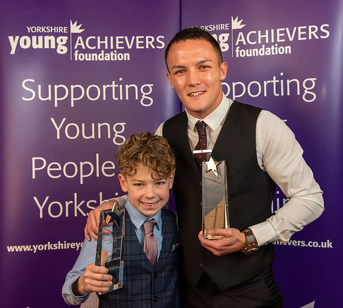 Youngster of the Year Archie Boyne and Personality of the Year Josh Warrington.