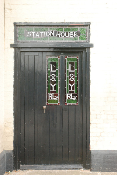 Close up of Station House door with L&Y lettering in door window