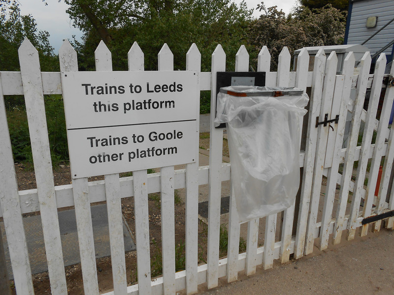 pic by Liz <br /> <br /> the entrance gate is to the right onto the platform you get a sign <br /> <br /> telling you which plat is which for the not exactly busy service that <br /> <br /> Hensall gets