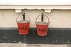 Close up of the fire buckets on the wall of the Goole bound platform