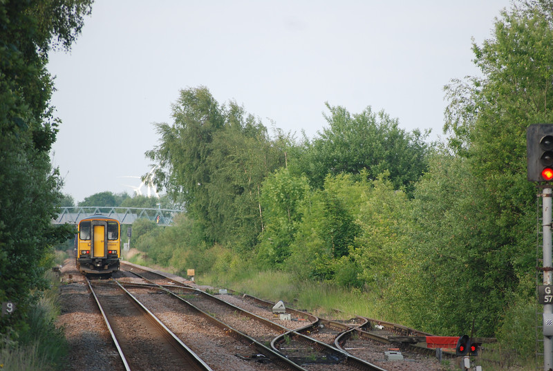 The unit pulls out of the station ECS then runs around and crosses over <br /> <br /> back into the Leeds bound platform