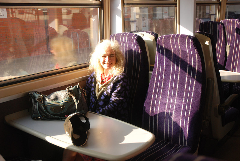 Liz was amazed how we where the only people on the train leaving <br /> <br /> Goole.  Liz sits in bay on <br /> <br /> 153 315 <br /> <br /> waiting time before departure to Leeds on <br /> <br /> 2F30 18.49 Goole - Leeds Parly