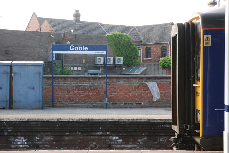cab of<br /> <br />  153 315 <br /> <br /> with Goole station sign in back ground <br /> <br /> 10th June 2013