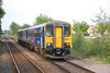 close up of <br /> <br /> 153 315 + 150 269 <br /> <br /> ease  towards the Leeds bound platform