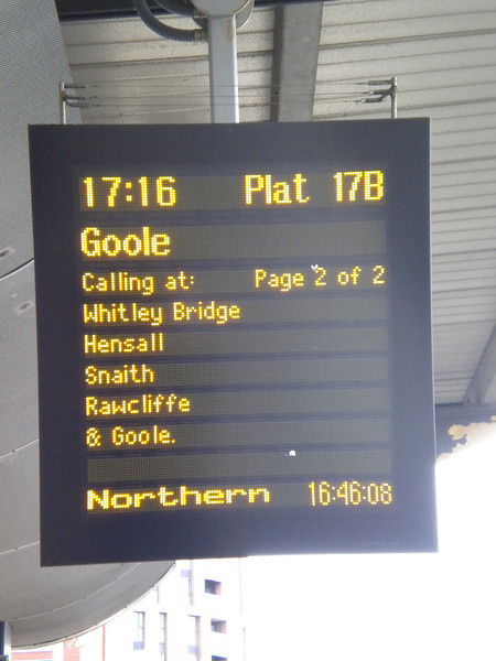 This picture shows the four Ghost Stations that only get a train from <br /> <br /> Goole in the Morning one way only to Leeds and then the 17:16 <br /> <br /> evening out and back service
