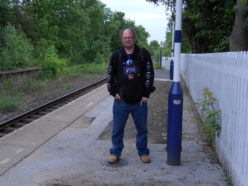 Pic by Liz <br /> <br /> The Ghost Station Man <br /> <br /> on the Platform at Rawcliffe waiting for the Train back to Leeds <br /> <br /> Best way to spend my 47th Birthday getting this beast of Ghost <br /> <br /> Station in and i thought Bordesley was good this one was certainly <br /> <br /> different