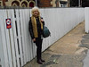 As always as we are the Ghost Station Hunters we have to have the <br /> <br /> obligatory station pic but problem here like Snaith the station name <br /> <br /> signs where so high up that it was pointless standing under them so i <br /> <br /> opted for a shot of Liz by the Exit standing by the Fence. <br /> <br /> Liz soaks up the isolation of Rawcliffe, out of all the Ghost stations that she has done so far this is the one thats been the most isolated and she was really happy with getting Rawcliffe in the Book at Last becuase i'd been going on about it for so long