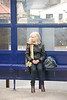 Couldnt resist this got this pic without her knowing <br /> <br /> Liz waits in the shelter for the train back to Leeds