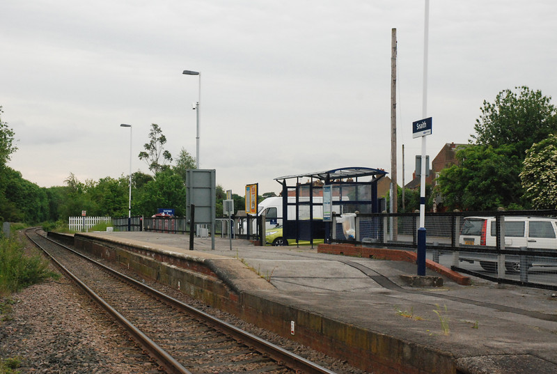 One final angle shot showing the whole of Snaith station very sparse <br /> <br /> but it does have a massive Car - Park