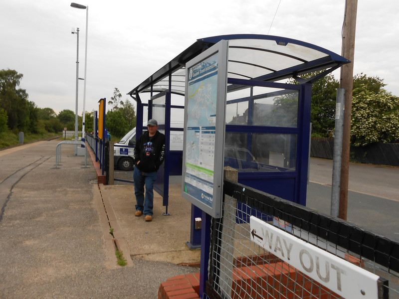 Pic by Liz <br /> <br /> Ghost Station Man leans against the waiting shelter waiting for the return back to Leeds