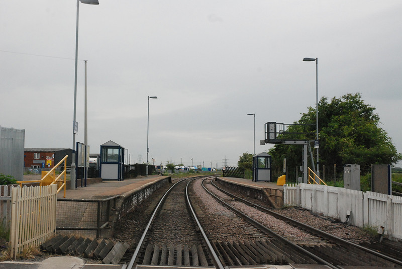 Shot taken from Selby Road on the Crossing showing the whole of <br /> <br /> Whitley Bridge station looking towards knottingley