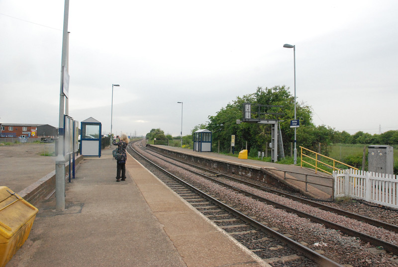 Leeds bound platform looking towards Knottingley
