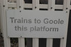 Usual signs saying which platform you use to catch your train from