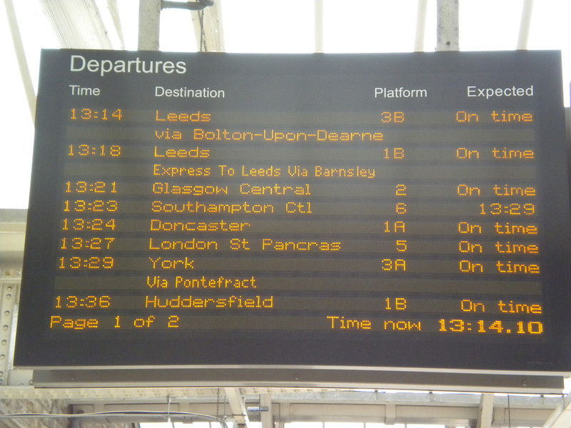 Sheffield <br /> <br /> Digital Display showing the 13.29 to York via Pontefract Baghill <br /> <br /> 5th July 2013