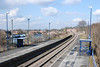 shot from the Barnetby bound platform from the footbridge looking <br /> <br /> across at the car park for the Retail outlets