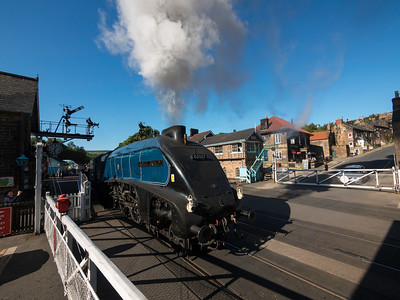 The North Yorkshire Moors Railway at Grosmont, N Yorkshir Sir Nigel Gresley steam locomotive