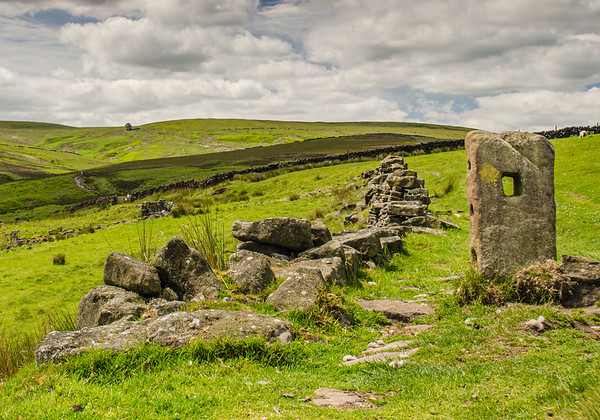 The ruins of a sheep fold mark the way to the ruins of Top Withins, marked by the single tree on the horizon.  It is believed that Top Withins may be the inspiration for Emily Bronte's only novel, Wuthering Heights.