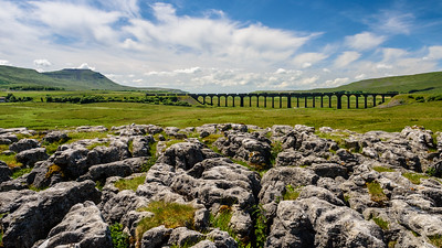 Container freight train on Ribblehead Viaduct