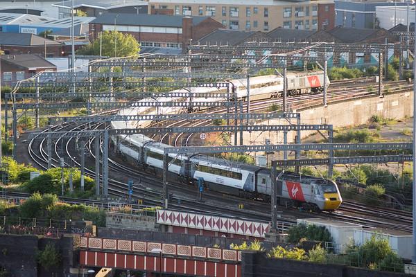 Virgin InterCity East Coast train approaching Leeds Railway Station