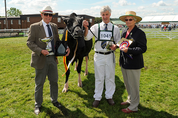 Supreme Dairy Champion Meiklefirth Plaid Lutske with owner David Yates (centre), Stuart Fletcher from Arla and Chief Cattle Steward Margaret Chapman.