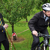 GYS 2012 YAS Ch Exec Nigl Pulling (left) watches the  Society's facilities manager Shaun Casper on the new mountain biking course at the Harrogate Showground.