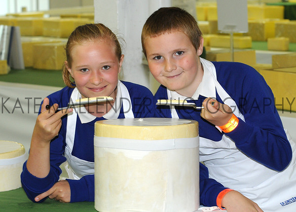 GYS 2012 11 year olds Bethany Kitchen & Steven Shepherd from Athelstan Community Primary School judging cheese classes.
