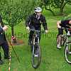 GYS 2012 YAS Ch Exec Nigl Pulling (left) watches the  Society's facilities manager Shaun Casper (centre)  and Joe Rafferty of Mountain bike Coaching UK on the new mountain biking course at the Harrogate Showground.