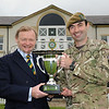 Yorkshire Agricultural Society chairman Simon Theakston & Capt Alex Nancolas  with the new Yorkshire Regiment's Best Soldier Trophy.