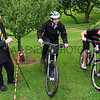GYS 2012 YAS Ch Exec Nigl Pulling (left) watches the  Society's facilities manager Shaun Casper (centre) & Mountainbike Coaching UK's Joe Rafferty on the new mountain biking course at the Harrogate Showground.