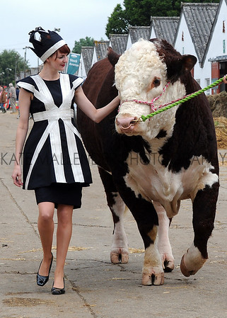 GYS 2012 Model Ruth Summerskill with 3 year old Hereford bull Flynn