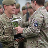 Great Yorkshire Show 2012: Pvt David Adams from Hull is awarded Yorkshire regiments Soldier of the Year Award by commander of the 1st battalion Yorkshire regiment Dan Bradbury.<br /> pic: Doug Jackson