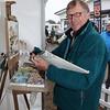 gys 2012 Tuesday: DAVID ALLEN Marine & Landscape Artist give a demonstration at the art show.<br /> pic: Doug Jackson