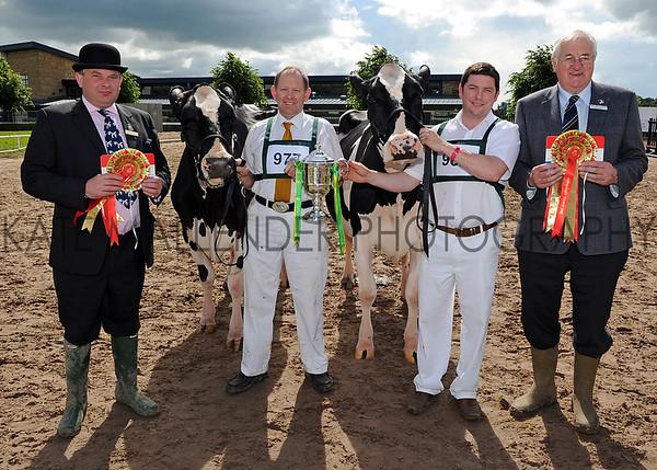 GYS 2012 Burke Trophy winners (L-R) Steward Edward Burke, Robert Butterfield with Ards Duplex O Ruth and Steve McLoughlin with Peak Goldwyn Rhapsody and Holstein UK President Jimmy Hull.