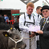 gys 2012 Wednesday: Ken Morrison presents rosettes in the Beef competition. Class: Pure or Cross Bred Heifer, six place: 821, Blonde Cross, Mr C R Fawcett..<br /> pic: Doug Jackson