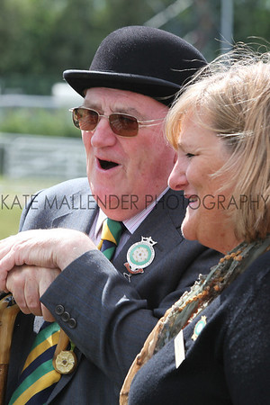 GYS Wednesday, Ken Morrison with Heather Parry, Deputy Chief Executive of the Yorkshire Agricultural Society <br /> pic: doug jackson