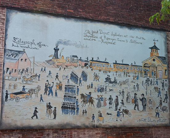 Mural Depicting York  City PA Train Depot, September 1861
