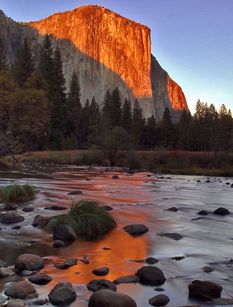 el capitan at sunset, merced river(vertical crop)